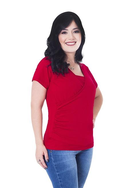 Blusa gestante de amamentação Drapeada - Vermelha