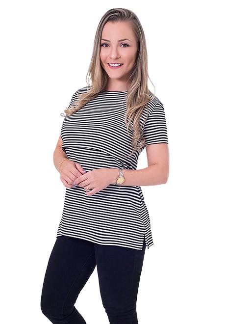 Blusa gestante de amamentação Slim manga curta