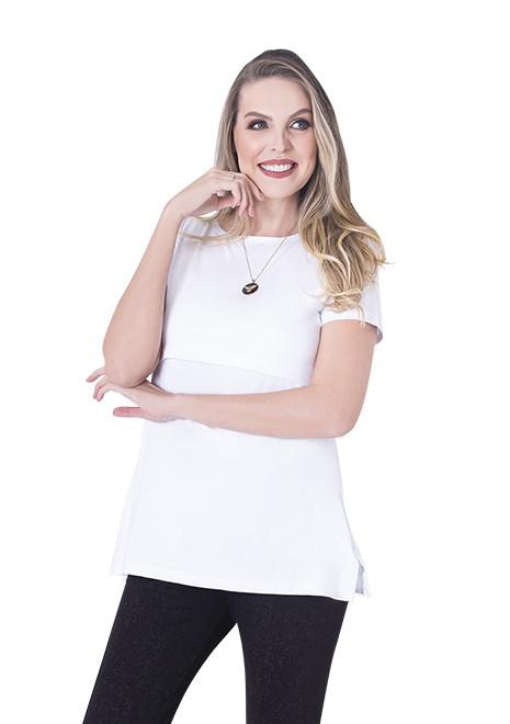 Blusa gestante de amamentação Slim manga curta - Branca