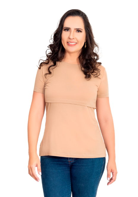Blusa gestante de amamentação Slim manga curta -Caramelo