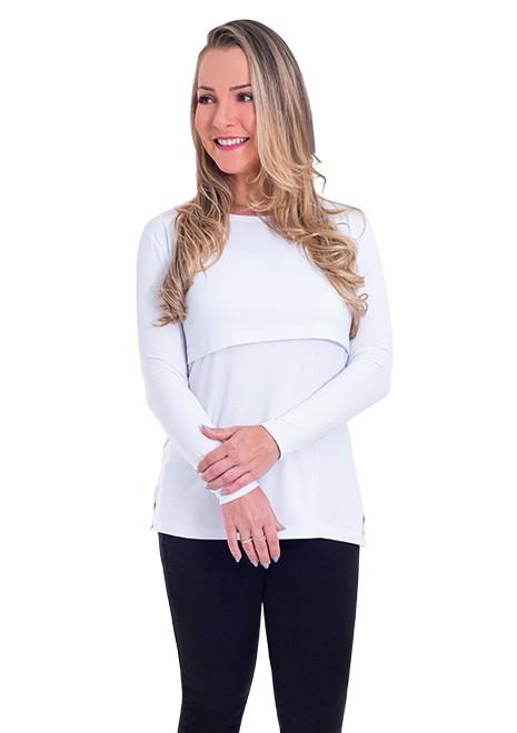 Blusa gestante de amamentação Slim manga longa - Branca