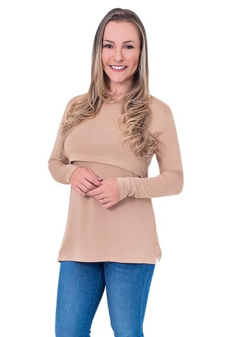 Blusa gestante de amamentação Slim manga longa - Caramelo