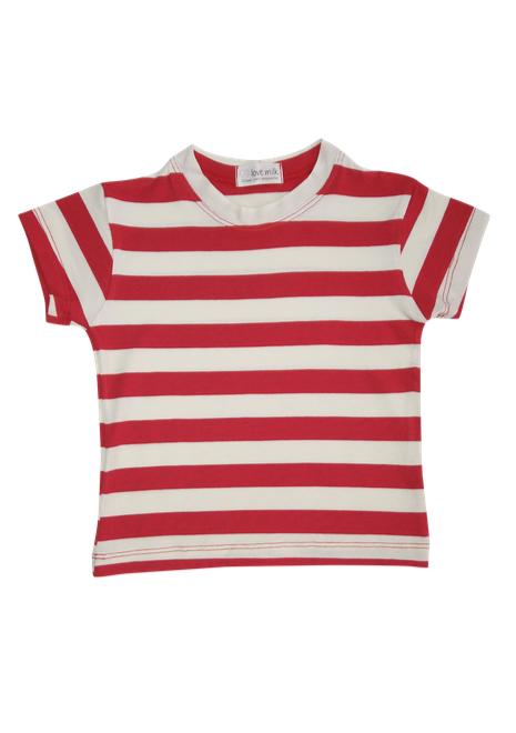 Blusa Tal Filhos Listrada - Menina e Menino - Listrado vermelho e branco
