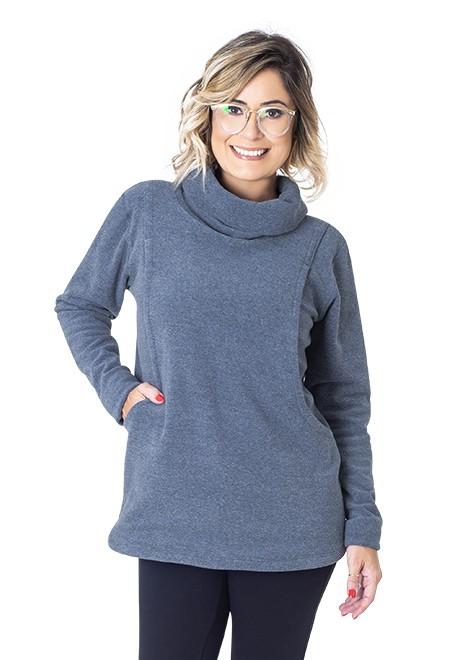Blusão para amamentar Basic Canguru - Azul jeans
