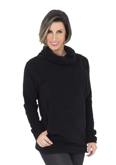 Blusão para amamentar Basic Canguru - Preto