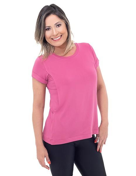 Camiseta de amamentação Vienna manga curta - Rosa