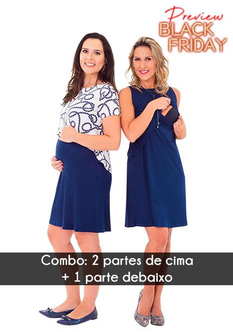 COMBO Black Friday Vestido Curve - Estampado Cordas e Azul Marinho