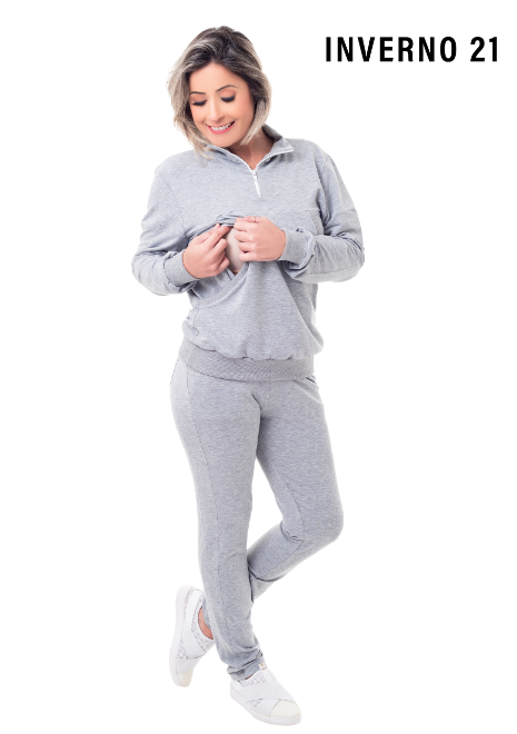 Conjunto para amamentar Helena em moletinho: Blusa + Calça - Cinza mescla