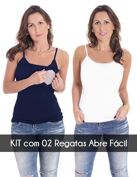 KIT com 2 Regatas para amamentar Abre Fácil - Azul marinho e Branco