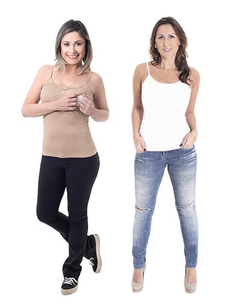 KIT com 2 Regatas para amamentar Abre Fácil - Branco e Bege