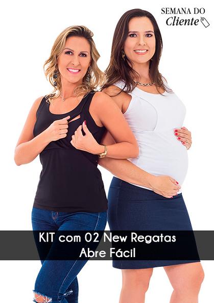 KIT com 2 Regatas para amamentar NEW Abre Fácil