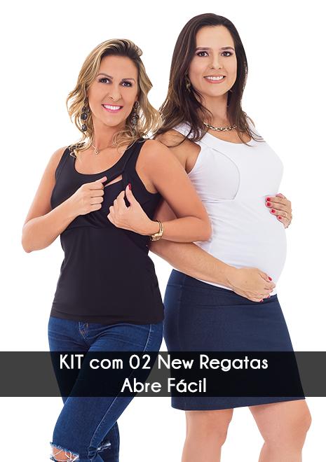 KIT com 2 Regatas para amamentar NEW Abre Fácil - Preto e branco