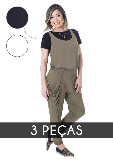 KIT Macacão para amamentação Alice com duas blusas