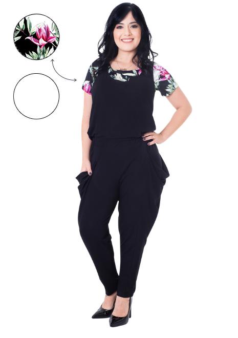 KIT Macacão para amamentação Alice preto com duas blusas - Floral e Branca