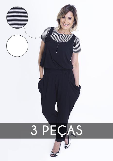 KIT Macacão para amamentação Alice preto com duas blusas - Listrada e Branca