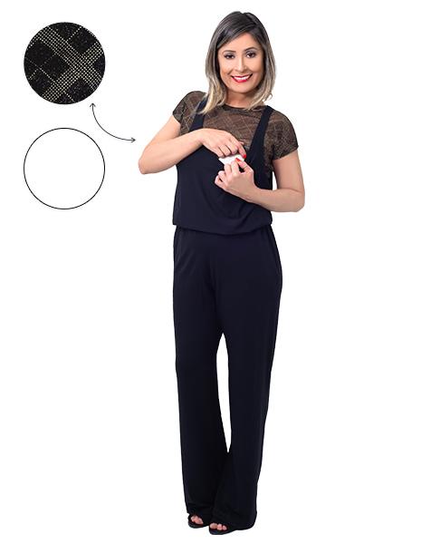 KIT Macacão para amamentação Marseile preto com uma blusa e um top