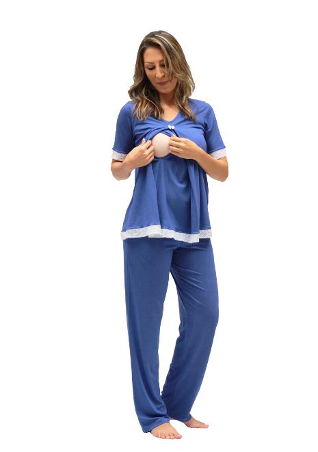 Pijama gestante para amamentar Hortência - Azul