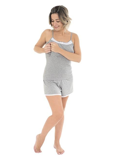 Pijama para amamentar Alice - Cinza