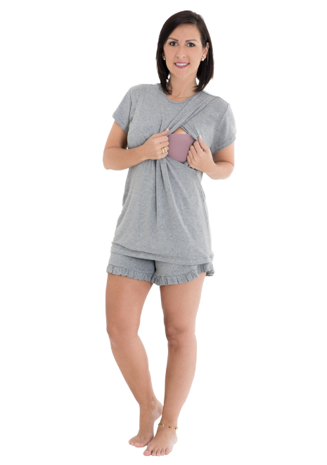 Pijama para amamentar Amarílis - Cinza