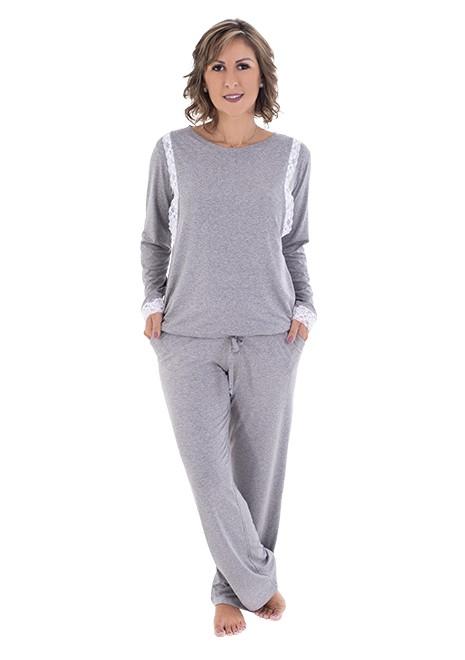 Pijama para amamentar Ana Maria - Cinza