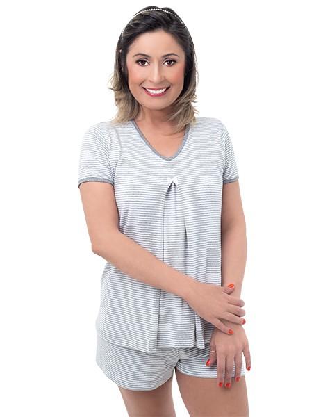 Pijama gestante para amamentar Donatella - Listrado cinza e branco
