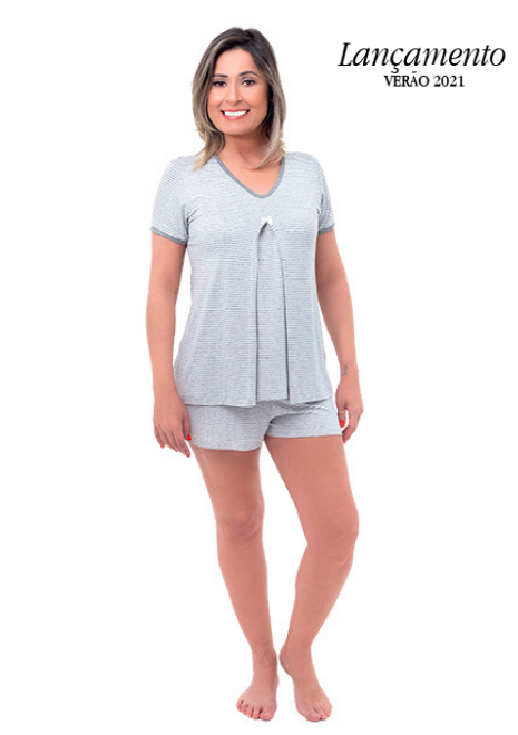 Pijama para amamentar Donatella - Listrado cinza e branco