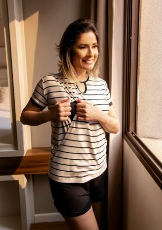 Pijama para amamentar Fiorella - Listrado bege e preto
