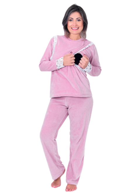 Pijama para amamentar Isabela - Rosa