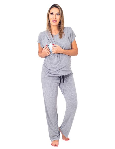 Pijama para amamentar Onze Horas - Cinza