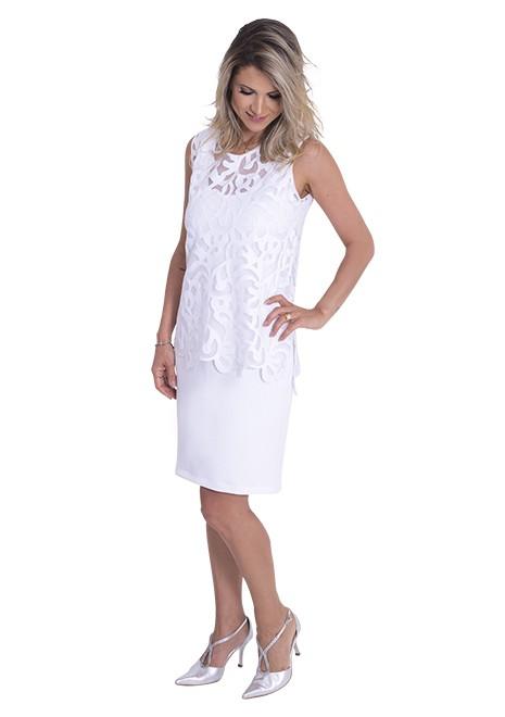 Vestido Branco para Amamentar Arabescos corte reto - Branco