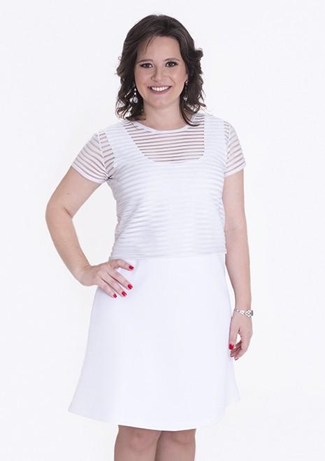 Vestido Branco para Amamentar Listra Lurex corte evasê - Branco