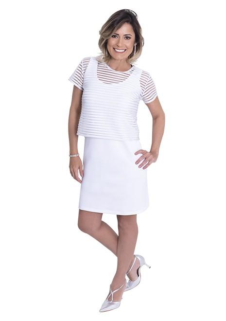Vestido Branco para Amamentar Listra Lurex corte reto - Branco