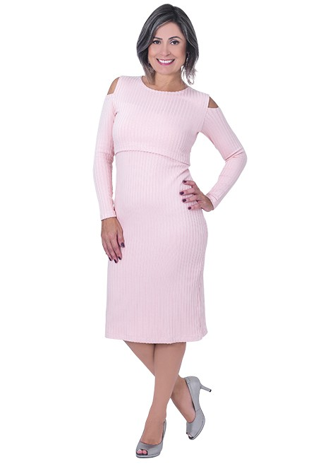 Vestido gestante para amamentar Antônia