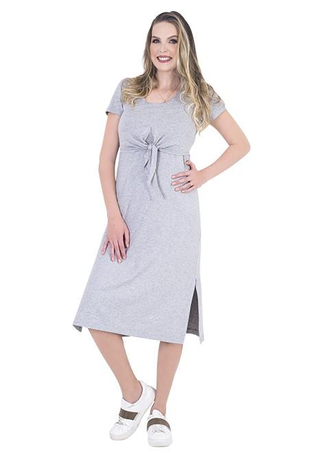 Vestido gestante para amamentar Cathy Midi Manga curta - Listrado