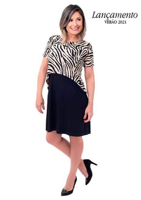 Vestido gestante para amamentar Curve Animal Print manga curta