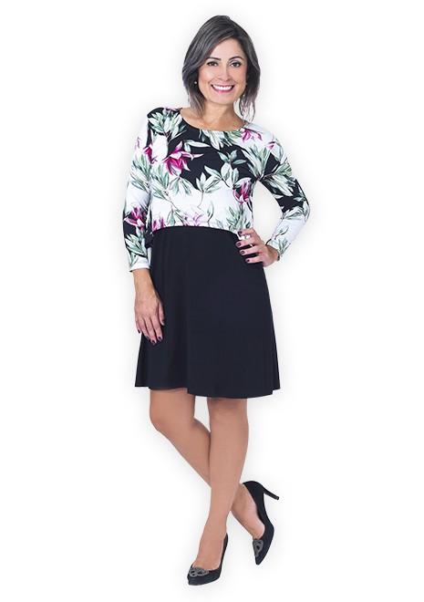 Vestido gestante para amamentar Curve Floral manga 3/4