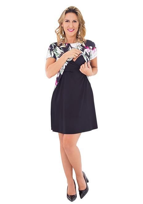 Vestido gestante para amamentar Curve Floral manga curta