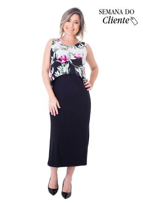 Vestido gestante para amamentar Curve Midi Floral Regata
