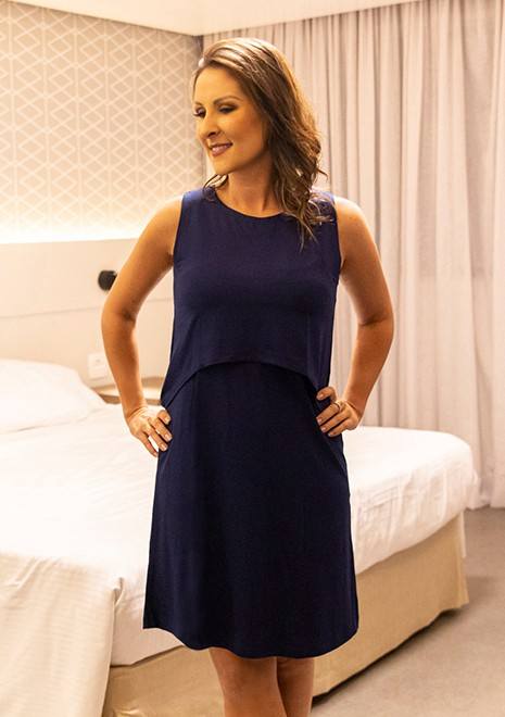 Vestido gestante para amamentar Curve Summer - Azul marinho