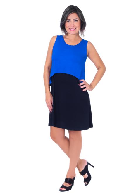 Vestido gestante para amamentar Curve Summer - Azul e preto