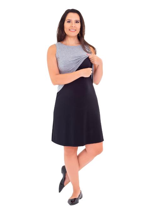 Vestido gestante para amamentar Curve Summer - Cinza e preto