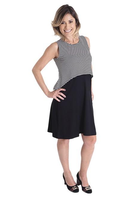 Vestido gestante para amamentar Curve Summer - Listrado e preto
