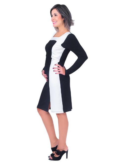 Vestido gestante para amamentar Fenda Canelado Bicolor - Grafite e Off White