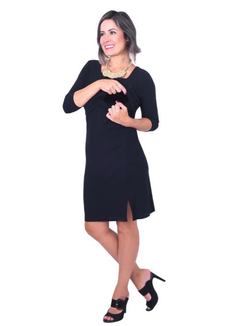 Vestido gestante para amamentar Fenda - Preto