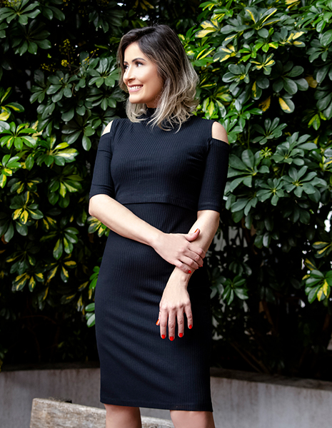 Vestido gestante para amamentar Jorja - Preto