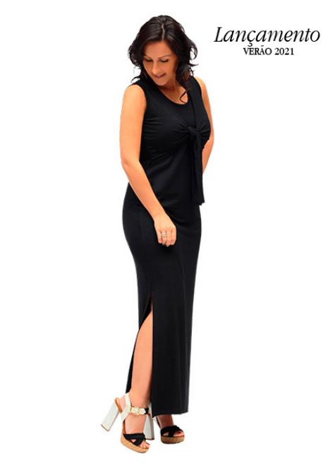 Vestido gestante para amamentar Tango longo - Preto