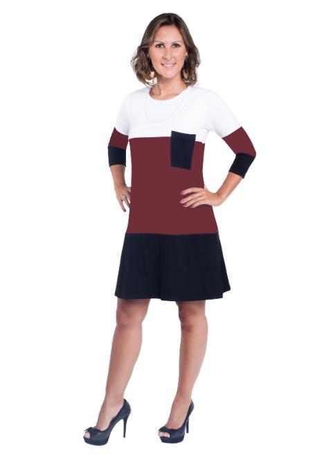 Vestido gestante para amamentar Trini manga 3/4 - Branco, bordô e preto