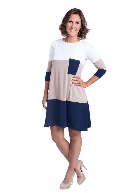 Vestido gestante para amamentar Trini manga 3/4 - Branco, castor e marinho
