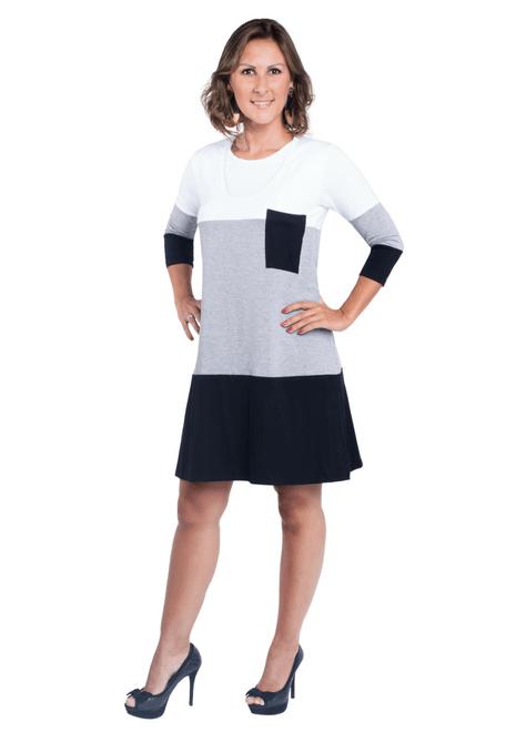 Vestido gestante para amamentar Trini manga 3/4 - Branco, cinza e preto