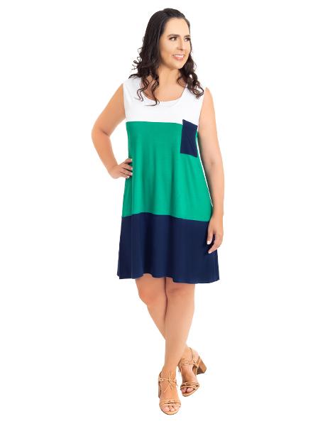 Vestido gestante para amamentar Trini Regata - Branco, verde e marinho